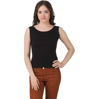 Texco Women Black Tank Sleeve less Scop neck Tank Top