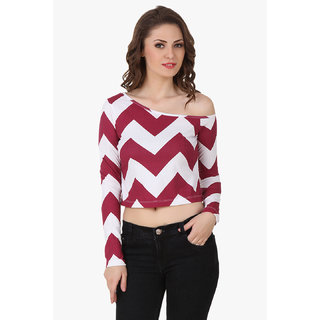 Texco Women Wine & White Chevron Full sleeve One off shoulder Top