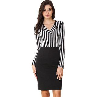 Texco Women Black & White Stripe Full sleeve V' neck Top