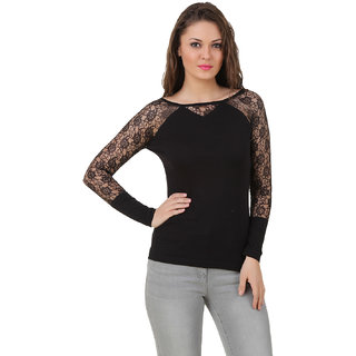 Buy Texco Women Black Self design Full sleeve Boat neck Top Online ... 65c1be299