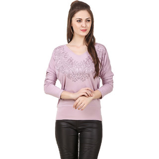 Texco Women Mouve Embellished Full sleeve V' neck Top