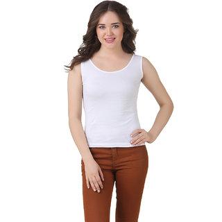 Texco Women WHITE Tank Sleeve less Scop neck Tank Top