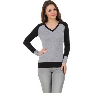 Texco Women Grey & Black Solid Full sleeve V' neck Top