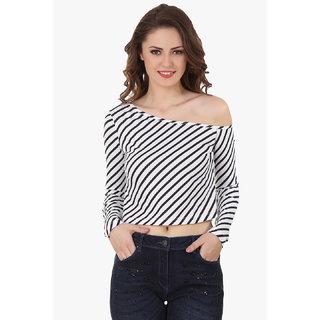 Texco Women Black & White Stripe Full sleeve One off shoulder Top
