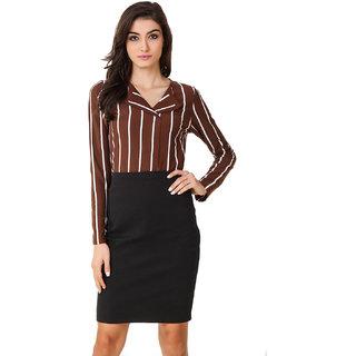 Texco Women Brown & White Stripe Full sleeve V' neck Top