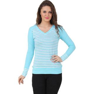 Texco Women Sky blue,white Stripe Full sleeve V' neck Top