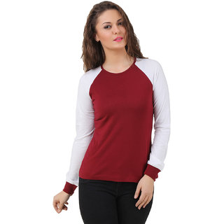 Texco Women Maroon & White Solid Full sleeve Round neck Top