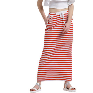 Texco Women Red & White Striped Tie-up Waist Maxi Skirt