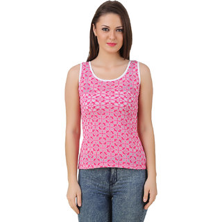 Texco Women Pink Burn out Sleeveless Scop neck Tank Top