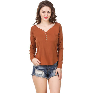 Texco Women Brown Solid Full sleeve Sweetheart neck Top