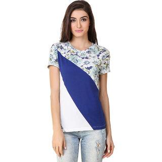 Texco Women Blue, White & Printed Color block Half Sleeve Round neck Top