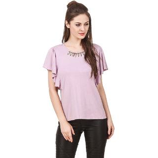 Texco Women Mouve Solid Short sleeve Scoop neck Top