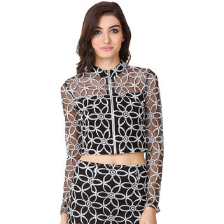 Texco Women Black Lace Full sleeve Mock neck Top
