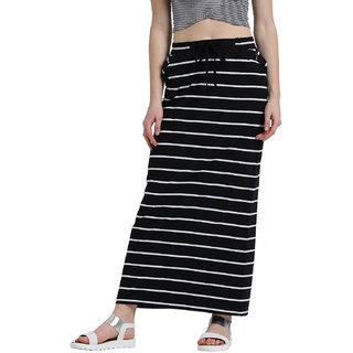 Texco Women Black & White Striped Tie-up Waist Maxi Skirt