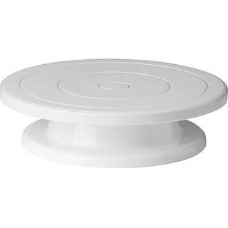OMRD Cake Decorating Round Rotating Revolving Stand Plastic Cake Server (White)