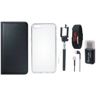 Lenovo K5 Leather Cover with Memory Card Reader, Silicon Back Cover, Selfie Stick, Digtal Watch and Earphones