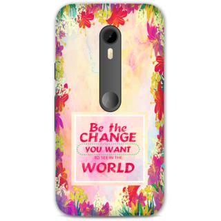 Moto G3 Designer Hard-Plastic Phone Cover from Print Opera - Be The Change
