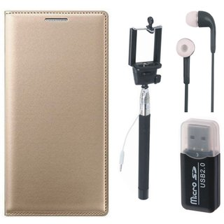 Moto G5 Plus ( XT1686 ) Leather Flip Cover with Kick Stand with Memory Card Reader, Selfie Stick and Earphones