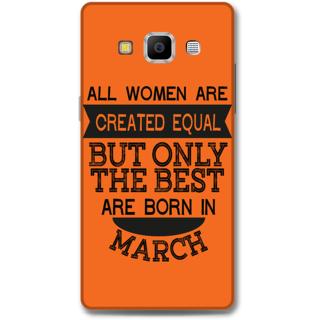 Samsung Galaxy A7 2015 Designer Hard-Plastic Phone Cover from Print Opera -March born for women in orange