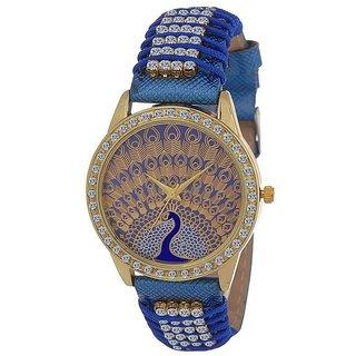 New Blue Peacock latest Designing Stylist Analog Blue Gutheli Dori Watch For Women Girls