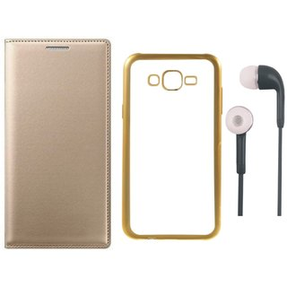 Leather Finish Flip Cover for Lenovo A6600 with Free Silicon Back Cover and Free Earphones
