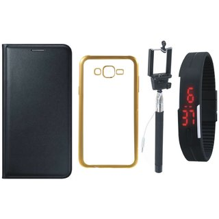 Moto E3 Power Premium Leather Finish Flip Cover with Free Silicon Back Cover, Selfie Stick and Digtal Watch