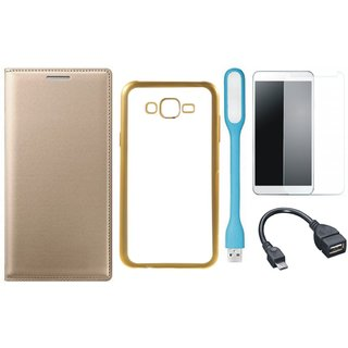 Leather Finish Flip Cover for Lenovo K6 Note with Free Silicon Back Cover, free Tempered Glass, free USB LED Light and Free OTG Cable