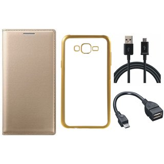 Leather Finish Flip Cover for Lenovo K6 Note with Free Silicon Back Cover, free OTG Cable and Free USB Cable