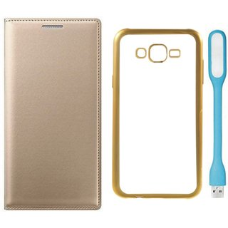 Leather Finish Flip Cover for Lenovo K6 Note with Free Silicon Back Cover and Free USB LED Light