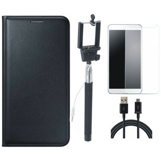 Leather Finish Flip Cover for Lenovo K6 Note with Free Selfie Stick, free Tempered Glass and Free USB Cable