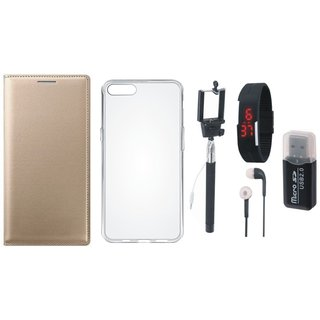 Lenovo K5 Leather Flip Cover with Kick Stand with Memory Card Reader, Silicon Back Cover, Selfie Stick, Digtal Watch, Earphones and OTG Cable