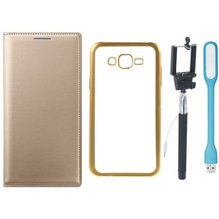 Leather Finish Flip Cover for Lenovo K6 Note with Free Silicon Back Cover, free Selfie Stick and Free USB LED Light