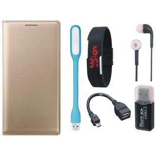 Lenovo K5 Leather Cover with Memory Card Reader, Digital Watch, Earphones, USB LED Light and OTG Cable