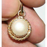 Half Moon Shape Pearl White Metal Pendant
