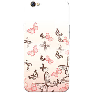 Oppo F3 Case, Pink Butterfly White Slim Fit Hard Case Cover/Back Cover for OPPO F3