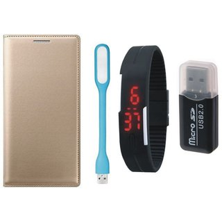 Lenovo K5 Premium Leather Cover with Memory Card Reader, Digital Watch and USB LED Light