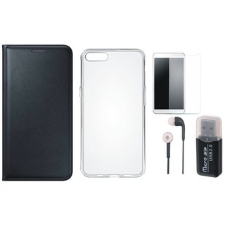 Lenovo K5 Leather Flip Cover with Kick Stand with Memory Card Reader, Silicon Back Cover, Earphones and Tempered Glass