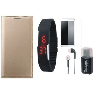 Lenovo K5 Stylish Cover with Memory Card Reader, Free Digital LED Watch, Tempered Glass and Earphones