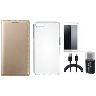 Vivo V5 Plus Premium Leather Cover with Memory Card Reader, Silicon Back Cover, Tempered Glass and USB Cable