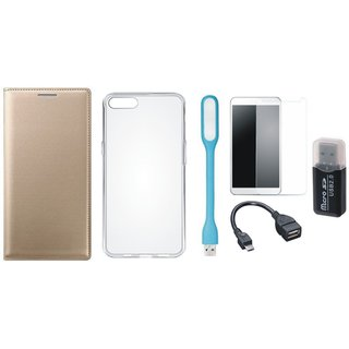 Vivo V5 Plus Premium Leather Cover with Memory Card Reader, Silicon Back Cover, Tempered Glass, USB LED Light and OTG Cable