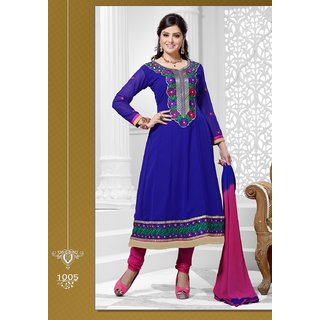 Khushali Women's Blue Georgette Unstitched Anarkali Suit