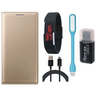 Lenovo K5 Plus Leather Flip Cover with Kick Stand with Memory Card Reader, Digital Watch, USB LED Light and USB Cable