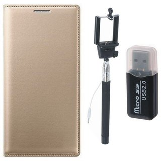 Lenovo K5 Plus Leather Flip Cover with Kick Stand with Memory Card Reader, Free Silicon Back Cover and Selfie Stick