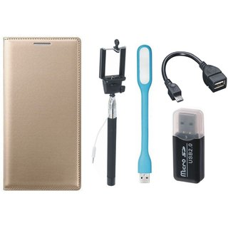 Lenovo K5 Plus Leather Flip Cover with Kick Stand with Memory Card Reader, Selfie Stick, LED Light and OTG Cable
