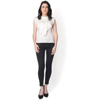 Yaadleen Crepe Regular Tops - White