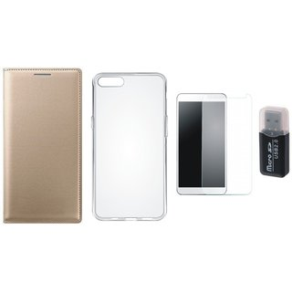 Lenovo K5 Plus Leather Flip Cover with Kick Stand with Memory Card Reader, Silicon Back Cover, Tempered Glass