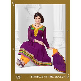 Khushali Women's Yellow Georgette Unstitched Anarkali Suit