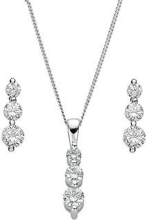 RM Jewellers 92.5 Sterling Silver American Diamond Stylish Pendant Set For Women ( RMJPS88817 )