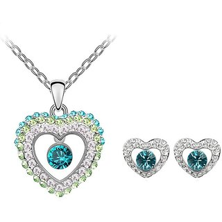 RM Jewellers 92.5 Sterling Silver American Diamond Impressive Pendant Set For Women ( RMJPS88818 )