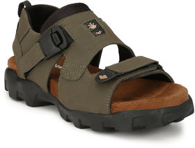 Shoegaro Green Velcro Faux Suede TPR Casual Sandals For Men
